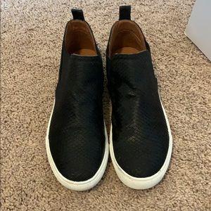 Report black snake skin leather sneakers.